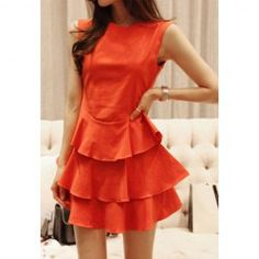 $12.85 Modern Style Solid Color Multi-Layered Flounce Hem Summer Dress For Women