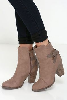Cute Beige Boots - High Heel Boots - Ankle Boots - $38.00
