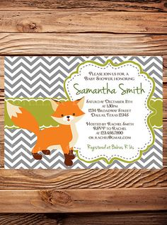 Hey, I found this really awesome Etsy listing at http://www.etsy.com/listing/173262653/baby-shower-invitation-boy-girl-fox-baby