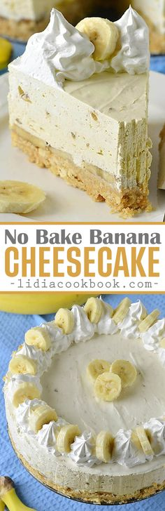 No Bake Banana Cheesecake - Creamy smooth rich cheesecake worthy of any occasion! via No Bake Banana Cheesecake - Creamy smooth rich cheesecake worthy of any occasion! via Lidia's Cookbook Banana Pie, Banana Cheesecake, Baked Banana, Cheesecake Desserts, Köstliche Desserts, Delicious Desserts, Dessert Recipes, Homemade Cheesecake, Classic Cheesecake