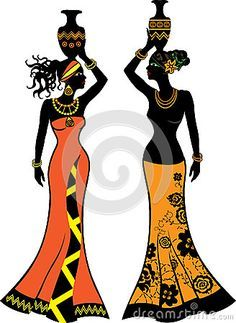 afrikanische frauen Vector - Beautiful African woman with vases, two versions Beautiful African Women, African Beauty, African Fashion, Ankara Fashion, African Style, Afro Chic, Afrique Art, African Art Paintings, Stock Foto