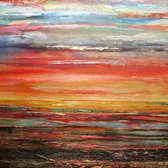 Saatchi Online Artist: Mike Bell; Sunset Budle bay Mudflats no1