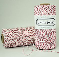 A red and white bakers twine with stripes.