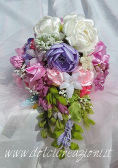 Ribbon Flowers - Fiori in satin e organza Bomboniere www.dolcicreazioni.it