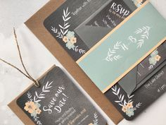 A highly cute and charming design, the Floral Chalkboard Invitation features pastel coloured botanical illustrations set against a trendy chalkboard backgr Chalkboard Wedding Invitations, Wedding Invitation Design, Wedding Stationery, Chalkboard Background, Place Names, Digital Marketing Services, Stationery Design, Botanical Illustration, Pastel Colors