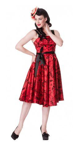 Tattoo Flocked Dress in Red
