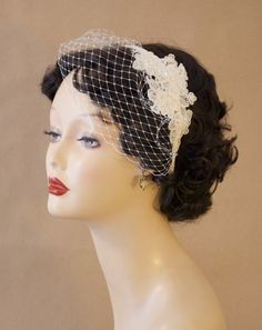 Bridal Birdcage Veil Blusher with Alencon Lace by hemsandbustles, $60.00