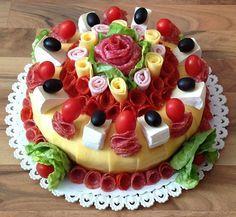 Sweet Home: Beautiful sandwich. Food Cakes, Appetizer Sandwiches, Meat Platter, Sandwich Cake, Food Garnishes, Salty Cake, Food Platters, Food Decoration, Food Humor