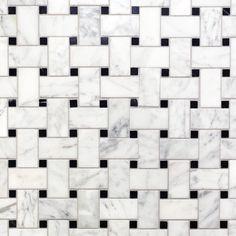Bianco Carrara Basket Weave Marble Mosaic - 12 x 12 - 931100811 Basket Weave Tile, Basket Weaving, Marble Mosaic, Carrara Marble, Mosaic Tiles, Stone Tile Flooring, Black Basket, Polished Porcelain Tiles, Unique Tile