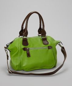 Take a look at this Apple Green Dome Satchel by Punto Uno on #zulily today!