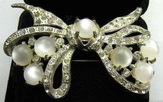 "Vintage Reinad Brooch Pin Signed Moonstones & Clear Rhinestones Silver Cast Metal 2 3/4"" VG"