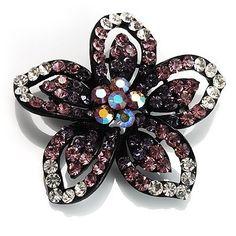 7f2d43ea87d Five Petal Diamante Floral Brooch (Black Purple) Avalaya.  19.80. Metal  Finish  black tone. Type  crystal. Gemstone  diamante. Theme  floral