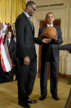 "President Barack Obama with the ""Heat"" 2X MVP Lebron James. #Greatness"