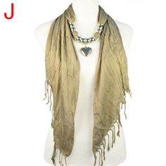 Jewelry scarf in dark khaki with zinc alloy pendant and CCB tube NL-1802J