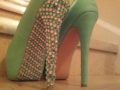 I love shoes and I love bling. These are DIY bling shoes... Look out!