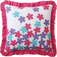 Fun pink, purple, & turquoise pillow-VCNY Amanda Square Applique Decorative Pillow