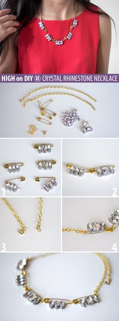 #DIY Crystal Rhinestone & Safety-Pin Necklace #DIYJewelry #Fashion #Accessories #Baubles