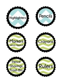 Chevron Classroom Supplies Labels