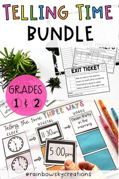 This Telling Time bundle includes everything you need to teach Grade 1 and Grade 2 time. Included is a range of differentiated hands-on activities, word problems, exit tickets, and assessments. Activities for learning to tell the time (including o'clock, half past, quarter past and quarter to) as well as a range of formative and summative assessment opportunities. #rainbowskycreations Primary Maths, Primary Classroom, School Resources, Learning Resources, Hands On Activities, Learning Activities, Formative And Summative Assessment, Early Years Maths, Professional Development For Teachers