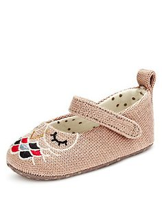 Embroidered Owl Cross Bar Pram Shoes | M&S