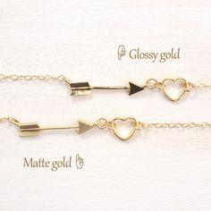 送料無料[14kgf] 選べるカラー♡ 矢とハートのネックレス、アロー キューピット ネックレス