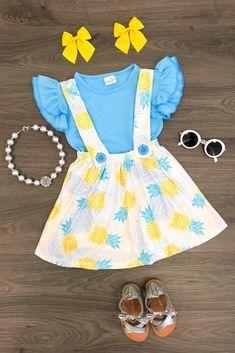 b1494cbd37dc Blue Pineapple Suspender Skirt Set