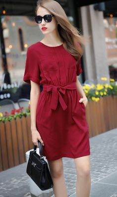 Buy Red Short Sleeve Tie-Waist Casual Dress from abaday.com, FREE shipping Worldwide - Fashion Clothing, Latest Street Fashion At Abaday.com