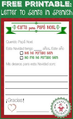 Free printable, letter to Santa in Spanish (and English too!)