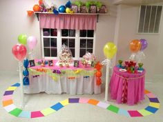 Candyland party décor - love the game piece path
