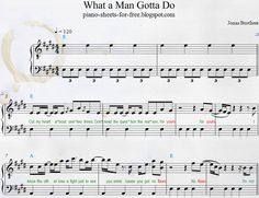 Download Transcription Piano Sheets Music PDF Jonas Brothers - What a Man Gotta Do Easy How To play