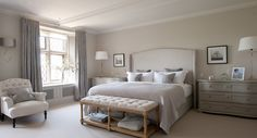 The Paper Mulberry: Essentially French! elegant neutral tones in this master bedroom with winged headboard by Sims Hilditch Interiors of Bath