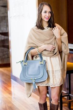 camel colored cape and chloe marcie bag | thefoxandshe.com