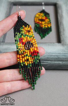 Brick Stitch Earrings, Seed Bead Earrings, Flower Earrings, Beaded Earrings, Seed Beads, Fringe Earrings, Schmidt, Gold Chandelier Earrings, Beadwork Designs