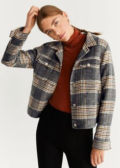 Discover the latest trends in Mango fashion, footwear and accessories. Shop the best outfits for this season at our online store. Tweed, Mango France, Outfits Mujer, Checker Print, Printed Trousers, Plaid Jacket, Quilted Jacket, Who What Wear, Affordable Fashion