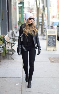black on black street style.