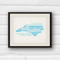 Gone to Carolina  North Carolina print  by PaperFinchDesign