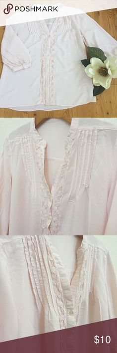 Linen shirt Sz M Pre owned Linen light pink shirt, size M, clean , good condition, no stains, no rips, chest 18, length 24, beautiful detail on front, mid length sleeves. none Tops Blouses