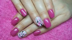 Pink and white nails with dots by Valkira from Nail Art Gallery