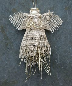 Look at this #zulilyfind! Gold Burlap & Twig Angel Ornament #zulilyfinds