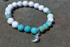Moon bracelet, howlite & imperial jasper, celestial charm, meditation mala, stretchy gemstone bracelet, gift for her, yoga jewelry, boho by nuttygals on Etsy