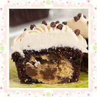 Chocolate Chip Cookie Dough Surprise Cupcakes by Laura's Sweet Spot