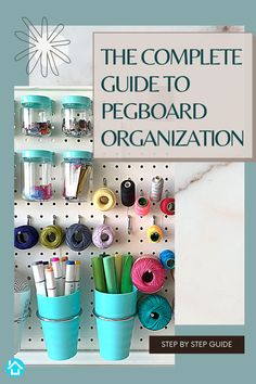 We will teach you everything aboout pegboard organization - from buiding a pegboard to which accessories work best for pegboard organization. Garage Organization Tips, Small Business Organization, Organizing, Pegboard Craft Room, Craft Rooms, Art Supplies Storage, Cricut Tutorials, Decluttering, Creative Inspiration
