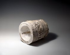 """Patricia Sannit: Double Cylinder, 2011, 6""""x7""""x6"""", cast, carved and incised found and reclaimed clays, slip and stain"""