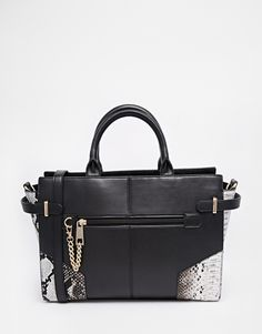 ASOS Winged Handheld Bag With Chain Zip
