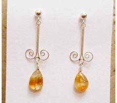 Sterling Silver Scroll Focal points with your choice of Citrine or White Pearls, $34.0