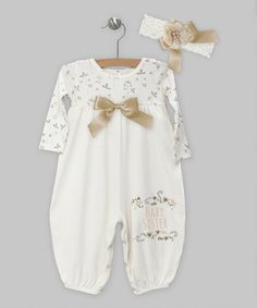 Look at this #zulilyfind! Ivory 'Baby Sister' Woodland Bubble Playsuit & Headband - Infant by Truffles Ruffles #zulilyfinds