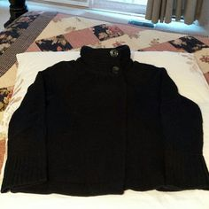 Old Navy Black Open Turtleneck Sweater Soft, but heavy black knit turtleneck sweater with 2 large buttons on neck to secure. Sweater is open & needs under layer. Very versatile. Really cute! Old Navy Sweaters Cowl & Turtlenecks