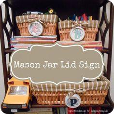 DIY Project: Mason Jar Lid Signs #DIY #masonjars