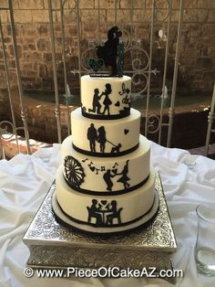 Dating story silhouettes wedding cake
