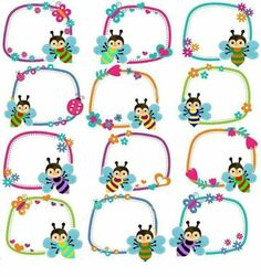 Étiquettes Kindergarten Portfolio, In Kindergarten, Boarders And Frames, Page Borders Design, School Frame, School Labels, Baby Clip Art, Borders For Paper, Bee Theme